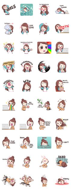 You can show your daily fangirling activities by using these stickers~! Stickers Kawaii, Emoji Stickers, Printable Stickers, Cute Stickers, Chibi, Korean Words Learning, Korean Stickers, Korean Expressions, Korean Lessons