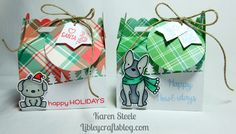 Lawn Fawn - Scalloped Treat Box Die. Also, Mama Elephant Lunar Animals stamps and dies and Avery Elle's Happy Howliday's stamp.