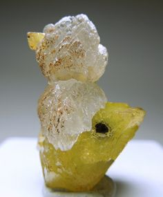 Adamite on Smithsonite. Looks like a little duck!