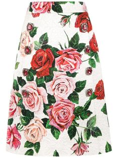 Shop online white Dolce & Gabbana floral print brocade skirt as well as new season, new arrivals daily. Boutiques, Stefano Gabbana, Dolce E Gabbana, Floral Swimsuit, Cotton Viscose, White Skirts, Floral Prints, Women Wear, Glamour