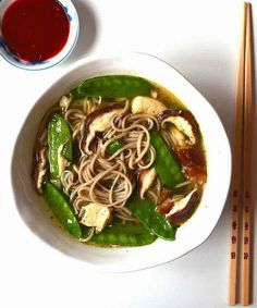 Soba noodle soup with mushrooms and snow peas. 31 Easy Dinners With No Meat To Make In 2015