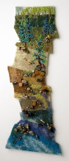 artistcannotfail: This is some sweet bead art by Jo Wood. Did this one for yo… artistcannotfail: This is some sweet bead art by Jo Wood. Did this one for you Ilana . My bead embellisher. Nuno Felting, Needle Felting, Textiles, Jo Wood, Felt Wall Hanging, Felt Pictures, Textile Fiber Art, Wool Art, Felt Art