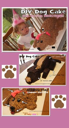 Step by Step Directions to make your own Dog birthday cake. Simple to make; took me less than an hour plus bake time! No fancy tools needed!!