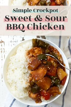 Simple Crockpot Sweet and Sour BBQ Chicken (New Leaf Wellness) Recipe For Sweet & Sour Chicken, Best Chicken Recipes, Healthy Crockpot Recipes, Slow Cooker Recipes, Healthy Chili, Crockpot Meals, Delicious Dinner Recipes, Yummy Food, Bbq Chicken
