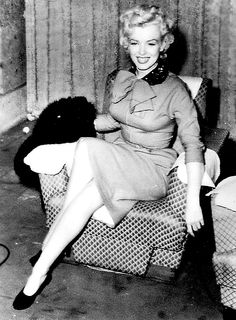 Marilyn Monroe at a press conference in Japan, 1954.