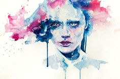 Silvia Pelissero is an Italian painter and illustrator best known as agnes-cecile. She was born in Rome in 1991, where she went in an art high school, focusing on her creative endeavors. She has continued as a self-taught artist, creating gorgeous, glowing watercolor portraits, outlined in white ink, her own signature style.