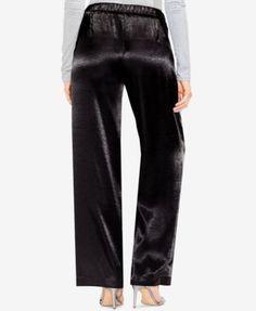 Vince Camuto Satin Wide-Leg Pants - Gray 10