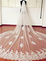 Hochzeitsschleier Zweischichtig Kathedralen Schleier Spitzen-Saum Tüll Spitzen Weiß Eifenbein