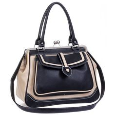 MG Collection Aubrey Vintage Clasp Closure Doctor Shoulder Bag, Black, One Size. The striking contrast of the beige and the black gives this vintage satchel purse a bold look that is both classic and modern. Below a clasp-style top closure lies a spacious and lined main compartment with pouches and zippered pockets for securing smaller valuables. A detachable and adjustable shoulder strap is included. Approximate Dimensions: Exterior - 12 inch H X 16 inch W X 6.5 inch D. Handle - 7 inch...