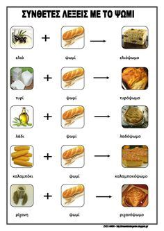 Greek Language, Speech And Language, Speech Therapy Activities, Preschool Activities, Greek Phrases, Learn Greek, Writing Corner, Bread Bun, Kids Education