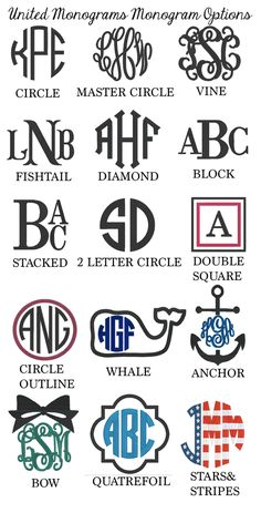 So many Monogram Options!