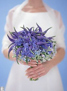 Smaller-scale bouquets are a good way to experiment with texture. Here, spiky blue veronica, a cost-cutting wildflower, pokes up above blue ...