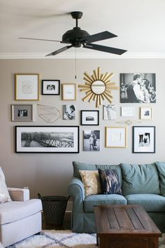 gold gallery wall from Fixer Upper | Rachel Whyte