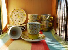 Juego de Cafe para 6pax. Pintado a mano, apto para lavavajillas y microondas. Consulta o encargo: Pachimudesign@gmail.com