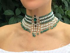 Crystal Bib Choker Flora, Wide Choker, Emerald and Pearl Choker Emerald Jewelry, Pearl Jewelry, Diamond Jewelry, Beaded Jewelry, Vintage Jewelry, Beaded Necklace, Fashion Jewelry Necklaces, Body Jewelry, Jewelery