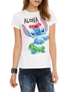 Fitted white tee from Disney's Lilo & Stitch with a front and back screen of Stitch in a grass skirt. Aloha!