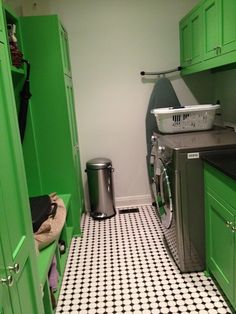 Suzie: Peppermint Bliss - Leprechaun green laundry room with black & white vintage tiles, gray ...