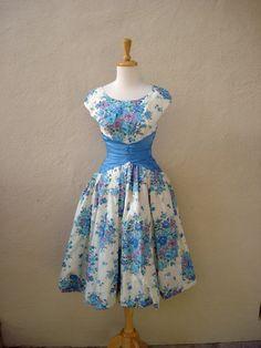 Vintage 1950s dress blue purple Floral Bow dress Gown