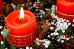 Christmas Candles and Candlelight with Festive Ribbon