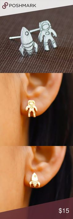 Delicate Silver Astronaut and Spaceship Earrings Silver Quantity Available: 6 Jewelry Earrings