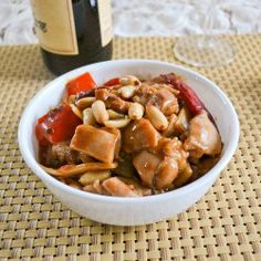 Kung Pao Chicken ~Mix 2tbs oyster S 1tsp cornstarch. Marinade 1lb chicken 10min. Combine 1/4c balsamic vinegar, 1/4 chicken broth, 3tbs rice wine, 2tbs hoisin, 1tbs soy S, 2tsp sesame oil, 2tsp chili garlice S & 2tsp sugar. On hi heat add 2tbs oil. Add 4 small dry chilies 10sec. Add chicken 3-5min or til cooked. Plate. Add remaining 1tbs oil. Add 4 cloves garlic 10sec. Add 2 celery, 1/2 bell pepper & 8oz can bamboo shoots 2min. Add chicken 1min. Add sauce & boil. Add cornstarch til boil.