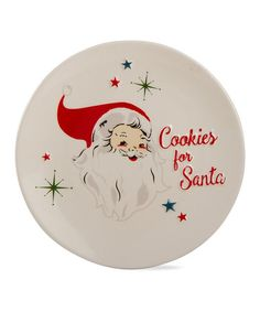 This Red & White 'Cookies for Santa' Plate is perfect! #zulilyfinds