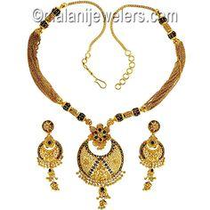 22 Karat Gold Minakari Ball Necklace Set. SKU # 2-03566 http://www.malanijewelers.com/heavygoldsets.aspx?size=30