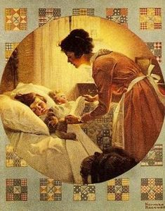 Mother's Little Angel – Mother Tucking Children Into Bed