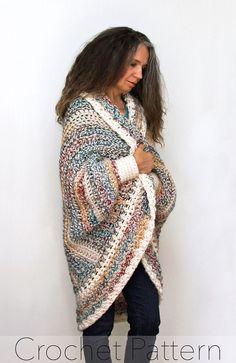 "Crochet Shrug PATTERN / Oversized Cardigan Sweater / Chunky Knitwear /Made in Canada / ""Luxe Oversized Shrug"""