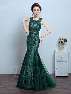 Mermaid Scoop Appliques Beading Crystal Lace Evening Dress - m.tbdress.com