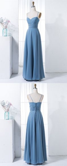 Simple dusty blue chiffon long bridesmaid dresses, elegant spaghetti straps wedding party dress, cheap bridesmaid dresses with pleats