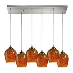 Westmore Lighting Cressidia 30-In Satin Nickel And Autumn Glow Glass M