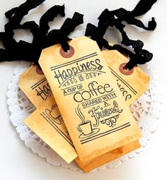 Coffee Stained Tags. Scrapbook Tags. Journal by ThePaperBasket