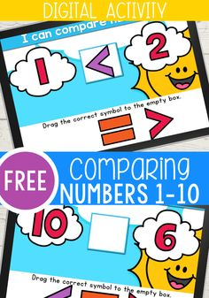 Greater Than Less Than Kindergarten Activity for Comparing Numbers Cloud Theme - Life Over Cs Kindergarten Math Activities, Numbers Kindergarten, Teaching Math, Learning Activities, Educational Activities, Math Classroom, Google Classroom, Online Classroom, Classroom Ideas