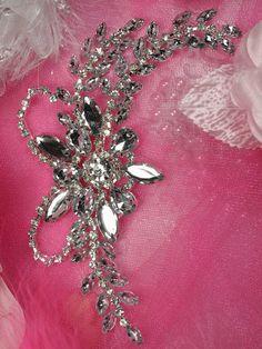 """XR127  Silver Crystal Clear Rhinestone Applique Embellishment 7.5""""     XR127-slcr"""