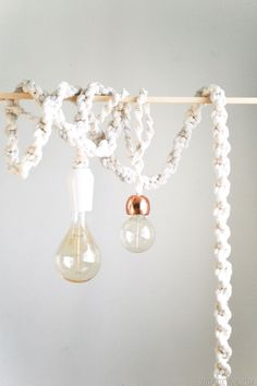 Giant Macramé Rope Lights   Square knots over lamp wire cord