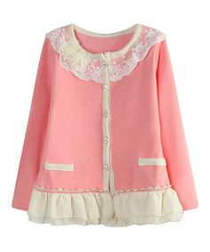Another great find on #zulily! Pink Lace-Trim Cardigan - Toddler & Girls #zulilyfinds