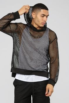 Mens Rave Outfits, Edgy Outfits, Beach Outfits, Gothic Fashion Men, Mens Fashion, Rave Party Outfit, Mens Crop Top, Mesh Hoodie, Gay Outfit
