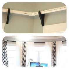 PVC pipe alternative to semi-expensive bay window curtain rods.