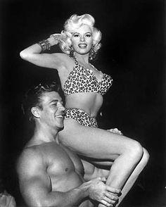 Jayne Mansfield (being lifted by hubby Mickey Hargitay). #leopard