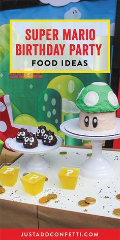 We had lots of sweet treats at our Super Mario birthday party. These party foods are so much fun! The menu consisted of a Super Mario Toad birthday cake, Goomba chocolate cakes, coin box yellow jello, and chocolate foil wrapped coins. I made the Goombas with a poop emoji pan and leftover cake batter from the Toad cake. I added the facial features with black modeling chocolate and white fondant. The Toad birthday cake was a sculpted cake made from a giant cupcake pan.