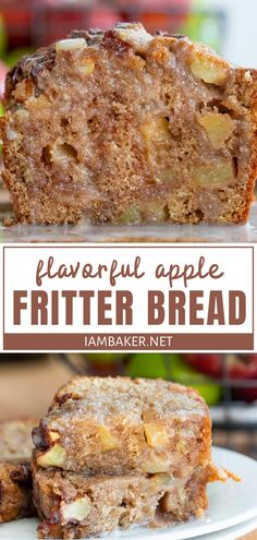 Apple Fritter Bread is a winner! Cut apples are coated in cinnamon and brown sugar to almost caramelize for a soft textu Köstliche Desserts, Apple Desserts, Apple Recipes, Delicious Desserts, Dessert Recipes, Yummy Food, Donut Recipes, Plated Desserts, Quick Bread Recipes