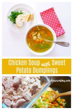 Chicken Soup with Sweet Potato Dumplings Recipe Serve this chicken soup with or without the sweet potato dumplings. Try this hearty, delicious homemade soup Chicken Soup For Colds, Pre Cooked Chicken, Chicken Soup Recipes, Chicken Flavors, Chili Recipes, Potato Dumpling Recipe, Sweet Potato Dumplings, Chicken Dumpling Soup, Sweet Potato Soup