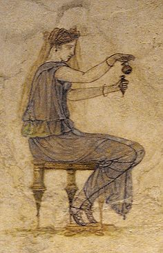 Etruscan: Perfumer filling a perfume vial from an aryballos,  fragment of a wall fresco near Tiber. 1 st cent BC