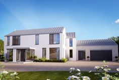 An understated family home with timber clad garage in a rural setting. New Modern House, Modern Bungalow House, Rural House, Modern House Design, Modern Houses, House Extension Design, House Front Design, House Designs Ireland, Octagon House