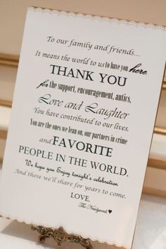 A note to wedding guest, place at guestbook