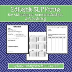 SLPs, make your back-to-school season a little easier with these *EDITABLE* forms for attendance, accommodations, and scheduling!