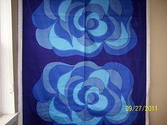 Marimekko Fabric Mustasukkainen x Blue 2 Full Flowers Marimekko Fabric, Vintage Textiles, Surface Pattern Design, Textile Design, Mid-century Modern, Flowers, Blue, Ebay, Collection
