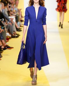 Akris Long-Sleeve Zip-Front Midi Dress, Azul