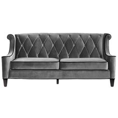 grey sofa, love the tufting on the back of the sofa instead of the seat cushions